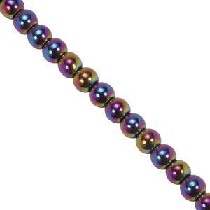 67cts Mystic Haematite Smooth Round Approx 4mm, 29cm Strand.