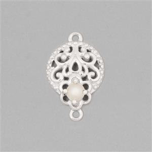 925 Sterling Silver Gemset Connector Approx 20x13mm Inc. Freshwater Cultured Pearl Approx 4mm