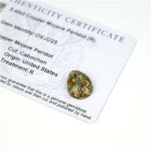 5.4cts Copper Mojave Peridot 16x12mm Pear  (R)