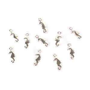 Silver Plated Base Metal Sea Horse Charms, Approx 15x6mm (10pcs)