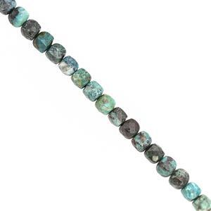 48cts Chrysocolla Faceted Cornered Cube Approx 4 to 4.75mm, 30cm Strand