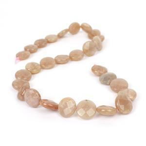 210cts Sunstone Faceted Coins Approx 14mm, 38cm Strand