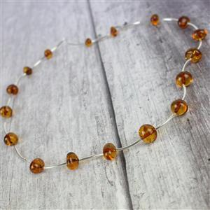 Baltic Cognac Amber baroque Beads with sterling silver spacers 38cm strand approx
