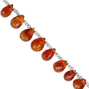 20cts Mandarin Citrine Top Side Drill Graduated Faceted Drops Approx 6x4 to 10x6mm, 8cm Strand With Spacers.