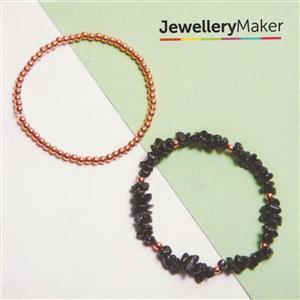 Rose Gold Plated 925 Sterling Silver Bead & Black Spinel Bracelets Kit