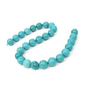 510cts Dyed Blue-Green Magnesite Faceted Rounds Approx 14mm, 38cm Strand