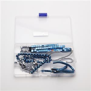 1300cts Silver & Intense Blue Haematite assorted Shapes & Sizes, 38cm 6 Strands in Box
