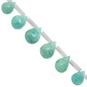 32cts Amazonite Top Side Drill Graduated Faceted Drop Approx 6.5x4.5 to 9x6.5mm, 20cm Strand with Spacers