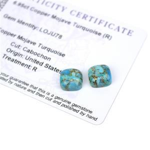 6.95cts Copper Mojave Turquoise 10x10mm Cushion Pack of 2 (R)