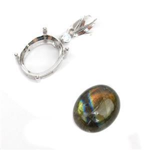 925 Sterling Silver Oval Bezel Pendant Approx 9x23mm & Labradorite Oval Cabochon Approx 10x12mm