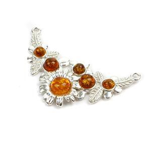 Baltic Cognac Amber Sterling Silver Spring Flowers Connector, Approx. 33x20mm