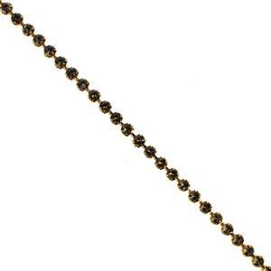 Swarovski Tiffany Cupchain 27308, SS29, Gold Brushed with Smoky Quartz Crystals, 50cm