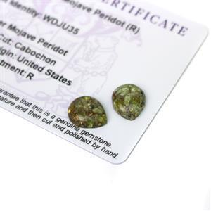 6.65cts Copper Mojave Peridot 12x10mm Pear Pack of 2 (R)