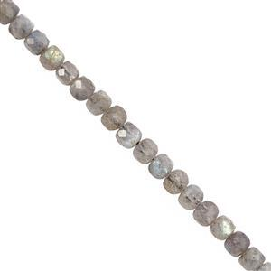 68cts Labradorite Faceted Cube Approx 4mm, 38cm Strand