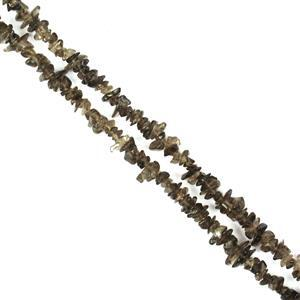 "290cts Smokey Quartz Small Chips Approx 4x1 - 7x4mm, 60"" Strand"
