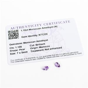 1.1cts Moroccan Amethyst Pear Brilliant 7x5mm