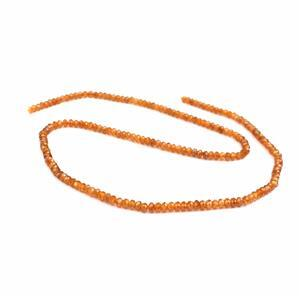 25cts Orange Garnet Faceted Rondelles Approx 3x2mm 38cm strand