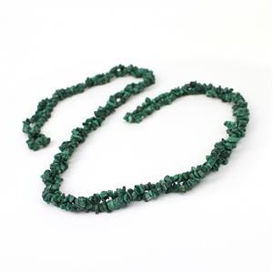 "470cts Malachite Small Chips Approx 3x1 - 7x4mm, 60"" Strand"
