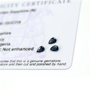 0.7cts Nigerian Sapphire 5x3mm Fancy Pack of 3 (N)