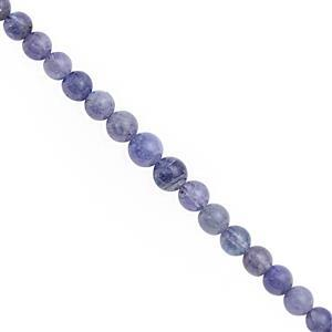 45cts Tanzanite Graduated Smooth Round Approx 4.50 to 6mm, 20cm Strand