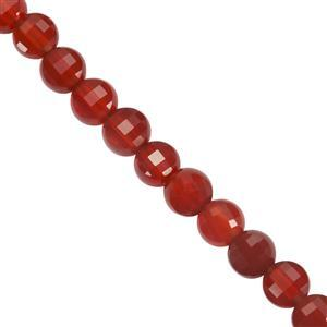 23cts Red Onyx Faceted Coin Approx 4mm 30cm Strand