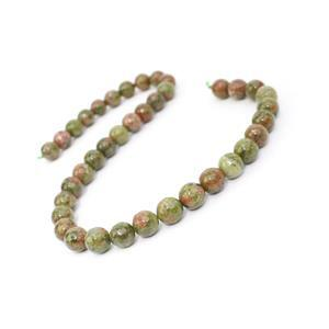 290cts Unakite Faceted Rounds Approx 10mm, 38cm Strand