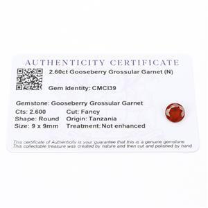 2.6cts Gooseberry Grossular Garnet 9x9mm Round  (N)