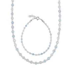 Aquamarine & White Topaz Sterling Silver Set of Bead Bracelet & Necklace ATGW 33.47cts