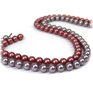 Shell Pearl! Inc; Raspberry & Lilac 8mm Rounds.