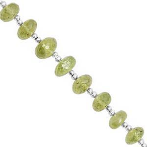 35cts Peridot Graduated Faceted Rondelle Approx 4.5x2.5 to 7x4.5mm, 18cm Strand with Spacer