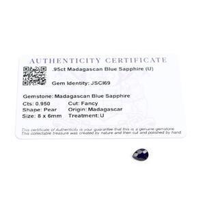 0.95cts Madagascan Blue Sapphire 8x6mm Fancy  (U)