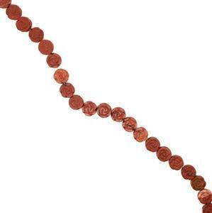 300cts Red Jasper Carving Rose Flower Approx 16mm, 38cm strand