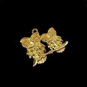 Gold Plated 925 Sterling Silver Our Mommy & Baby Owl Pendant 20mm 1pk