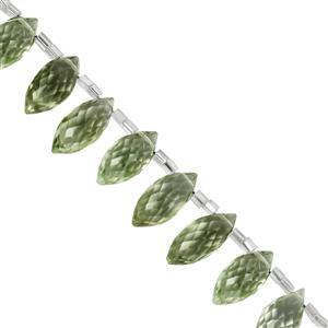 43cts Green Amethyst (Top Side Drill) Faceted Rice Approx 11.5x5mm to 16x8mm 10cm Strand with Spacers