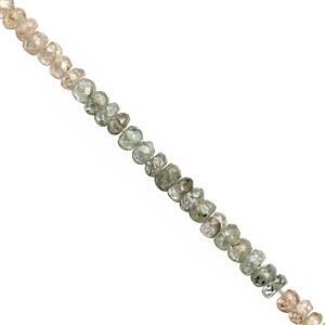 42cts Multi-Colour Zircon Faceted Rondelles Approx 2.5x1.5 to 3.5x2mm, 30cm Strand