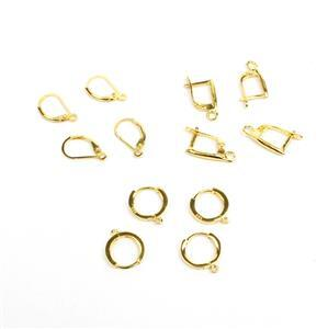6 Pairs x Gold Plated 925 Sterling Silver Earrings (2 x 12mm Hoops, 2 x 18mm Leverbacks, 2 x Drops)