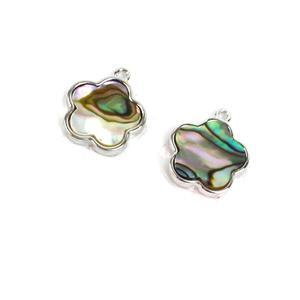 Rhodium Plated 925 Sterling Silver Flower Charm With Abalone Approx 13x15mm (2pcs)