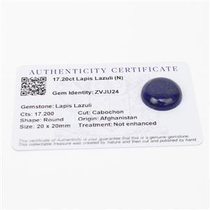 17.2cts Sar-i-Sang Lapis Lazuli 20x20mm Round  (N)