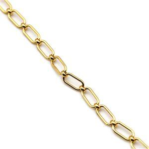 Gold Plated Base Metal Paperclip Chain, 1m
