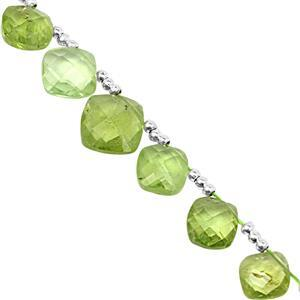 32cts Kashmir Peridot Top Side Drill Graduated Faceted Square Approx 6 to 9mm, 16cm Strand with Spacers