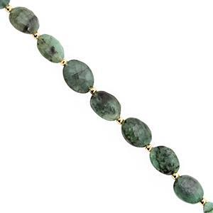 35cts Emerald Graduated Faceted Oval Approx 6x5 to 11x9mm, 20cm Strand with Spacers