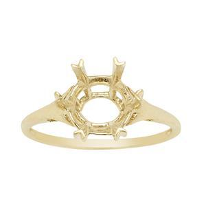 9K Gold Ring Mount (To fit 10mm Snowflake Cut Gemstone)- 1pcs