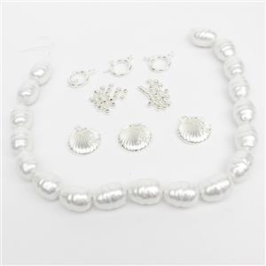 Etta; White Ringed Baroque Drop Shell Pearls, Bolt Ring Clasp, CZ Heart Pendants & Spacers