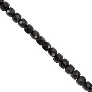 62cts Black Onyx Faceted Cube Approx 4mm, 38cm Strand