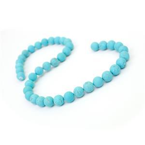 260cts Frosted Turquoise Plain Rounds Approx 10mm 38cm