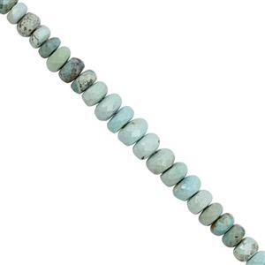 25cts Turquoise Light Colour Graduated Smooth Rondelle Approx 3x1 to 6.5x2mm, 20cm Strand