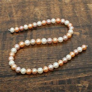 High Lustre Multi-Coloured  Freshwater Cultured Pearl Near Round Approx 9-9.5mm, 38cm Strand
