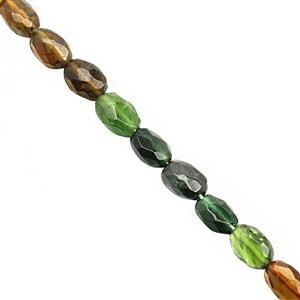 28cts Mix Green Yellow Tourmaline Faceted Oval Approx 6x4.5 to 7x5mm, 19cm Strand