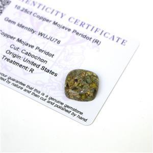 10.25cts Copper Mojave Peridot 16x16mm Cushion  (R)