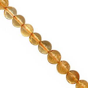 35cts Citrine Center Drill Smooth Round Approx 4 to 5.50mm, 19cm Strand